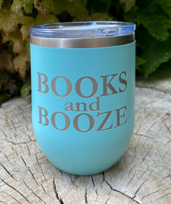 Books and Booze insulated wine tumbler