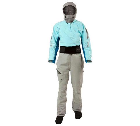 Kokatat: Drysuit; Odyssey with Hood and Drop Seat; GoreTex; Women (Ice Blue)