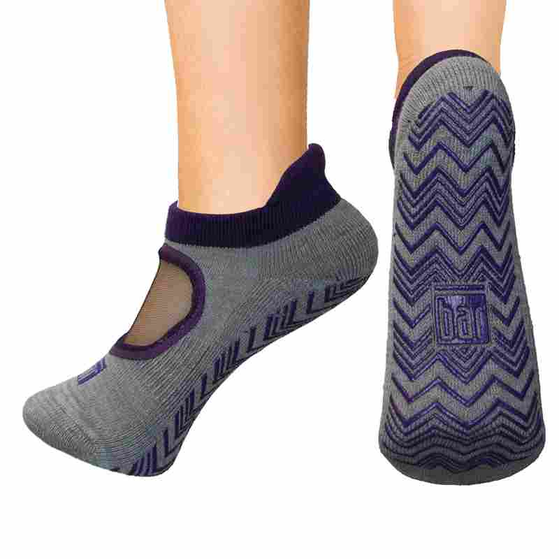 Open top socks - eggplant mesh