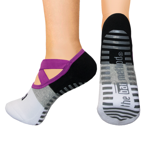 Open top socks - ballet slipper fuchsia strap