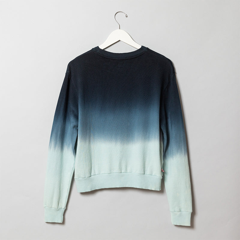 Bar Method Ombre Stripe Crop Sweatshirt – Navy Aqua