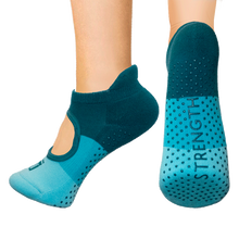 Load image into Gallery viewer, Open top socks - teal color block