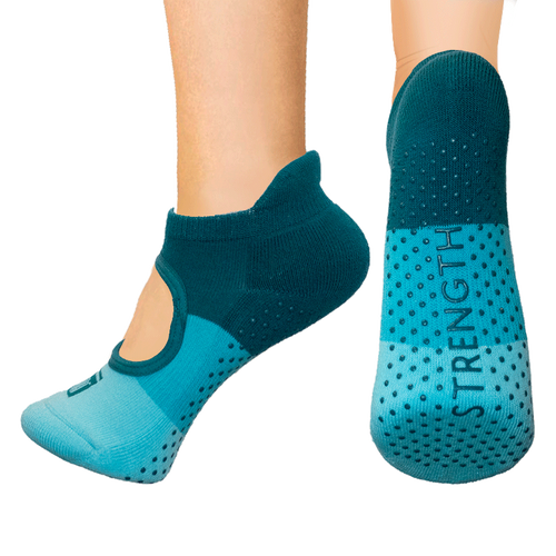 Open top socks - teal color block