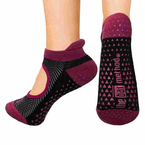 Open top socks - black & berry