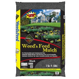 Weed & Feed Black Shredded Mulch (2.0cf) #1952w