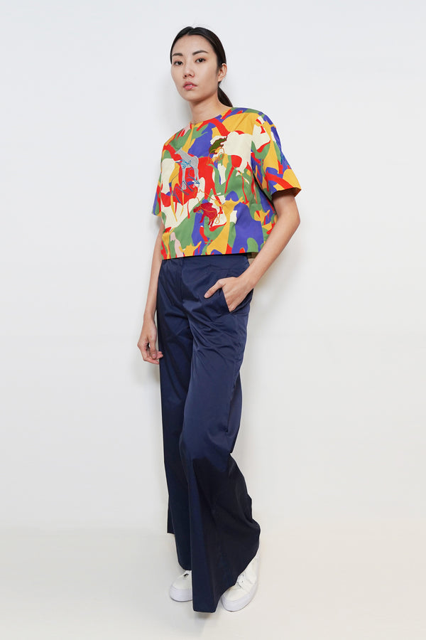 Mixture Print Embroidery Top