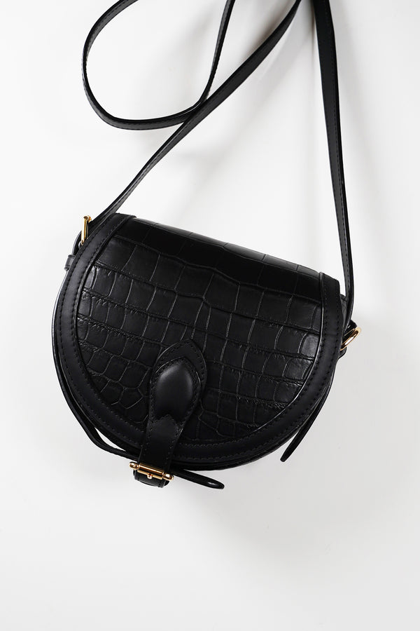 Crocodile Half Moon Clutch Bag