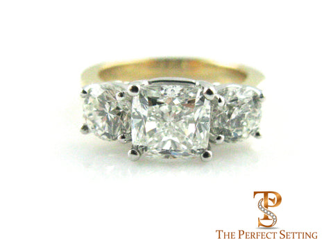 custom three 3 stone cushion cut diamond engagement and anniversary ring