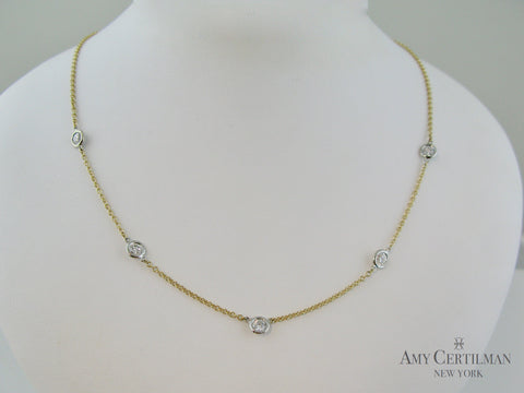 bezel diamond necklace with Lab Cultured diamonds