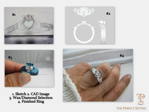 Process of custom claddagh diamond ring