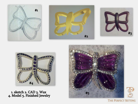 Process of custom amethyst and diamond butterfly pendant
