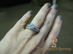 1.2 ct diamond engagement ring with diamond band on hand