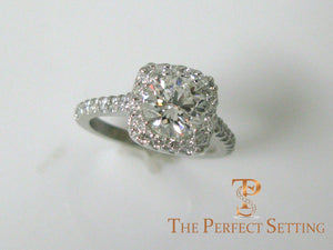 Diamond Halo Engagement Ring Cushion Cut