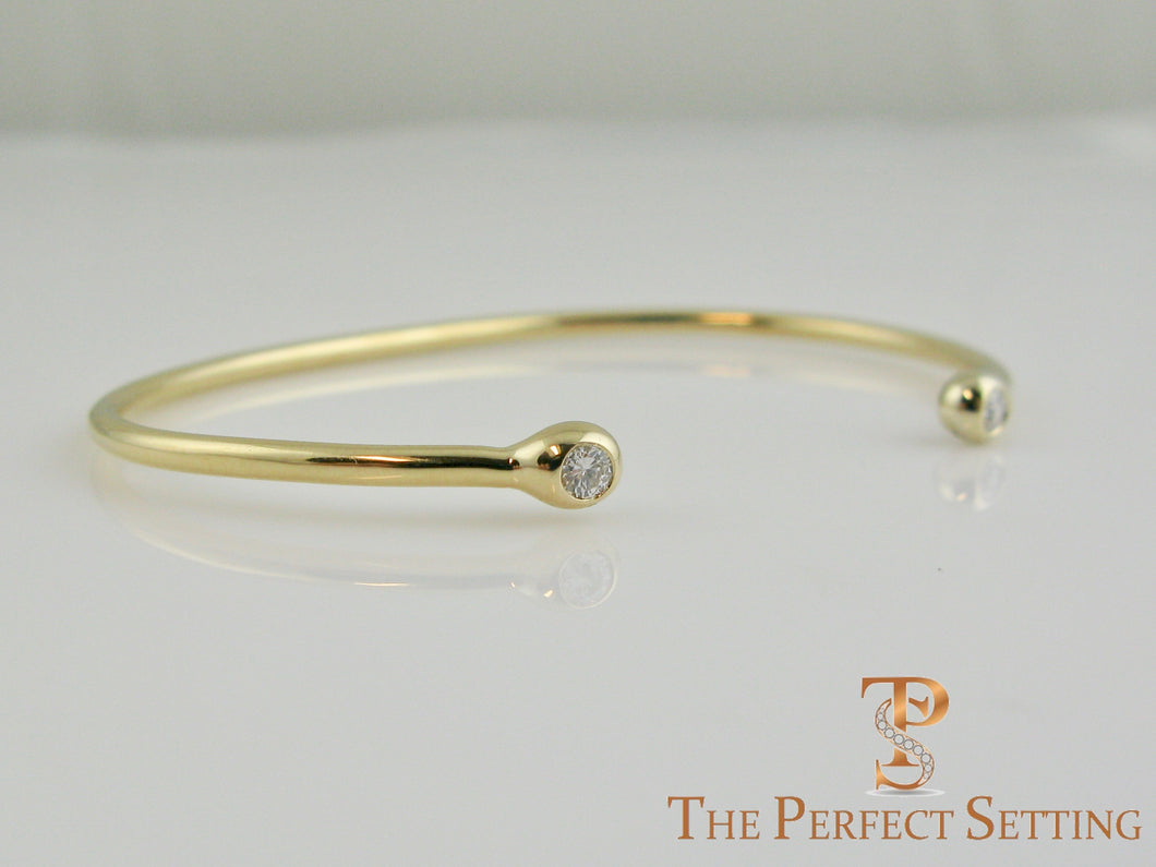 18K Custom Yellow Gold Wire Bracelet with Lab Created Cultured Diamonds