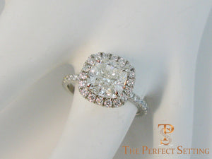 Custom Diamond Halo for 2.5ct Cushion Cut Diamond
