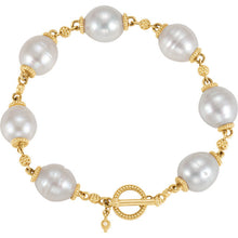 Load image into Gallery viewer, gold and south sea pearl bracelet