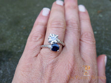 Load image into Gallery viewer, 2 stone sapphire diamond rope ring selfie
