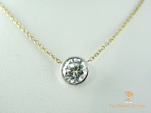 2ct diamond necklace bezel setting
