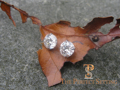 "3 ctw diamond studs ""hearts and arrows"" martini setting leaf"