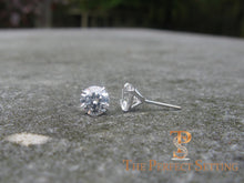 "Load image into Gallery viewer, 3 ctw diamond studs ""hearts and arrows"" martini setting side"