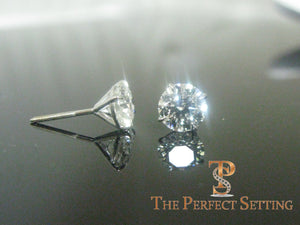 "3 ctw diamond studs ""hearts and arrows"" martini setting black"