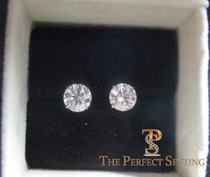 "3 ctw diamond studs ""hearts and arrows"" martini setting in box"