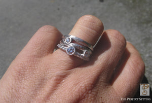 3 Stone Rustic Diamond Ring on Hand