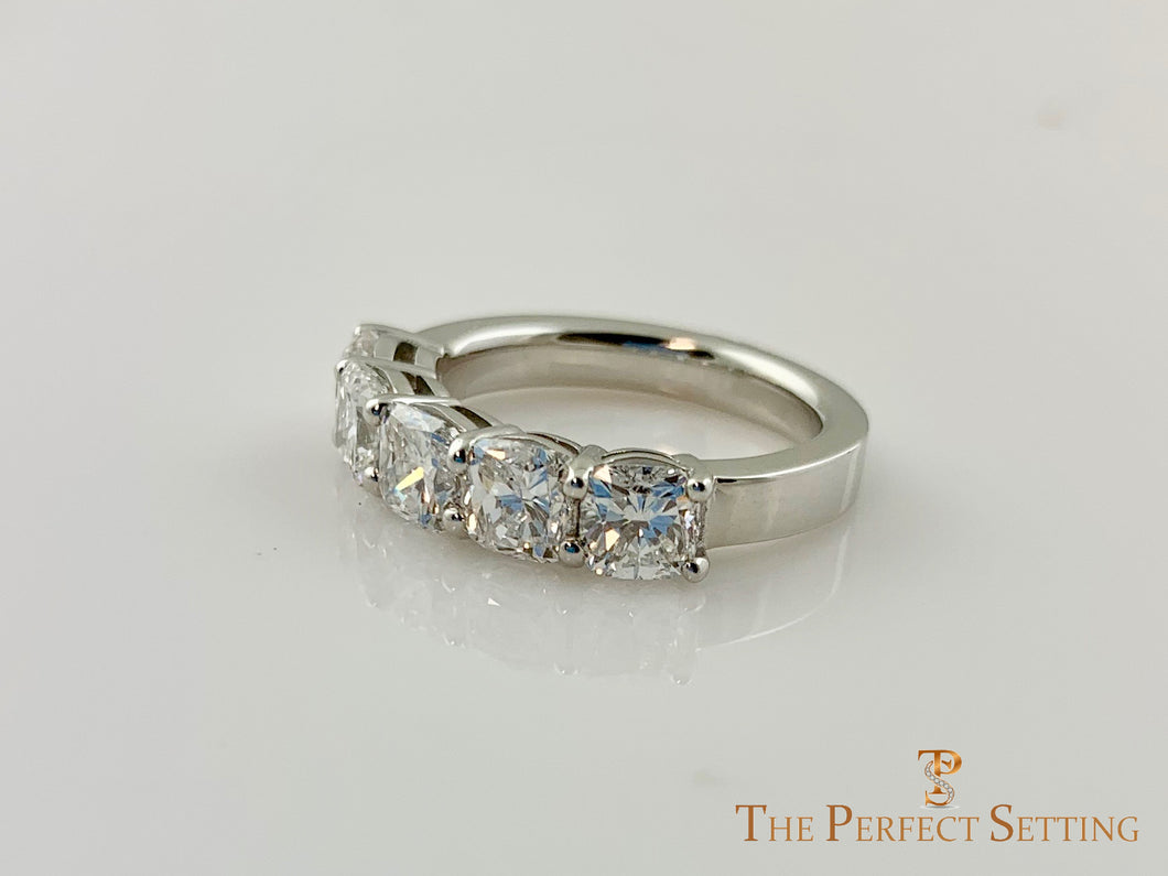 5 Stone Cushion Cut Diamond Wedding Band