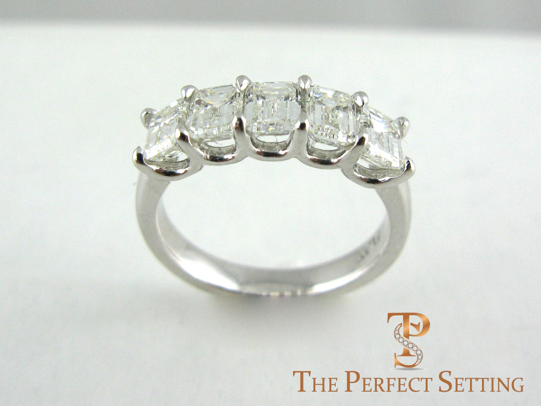 5 Stone Emerald Cut Diamond Wedding Band
