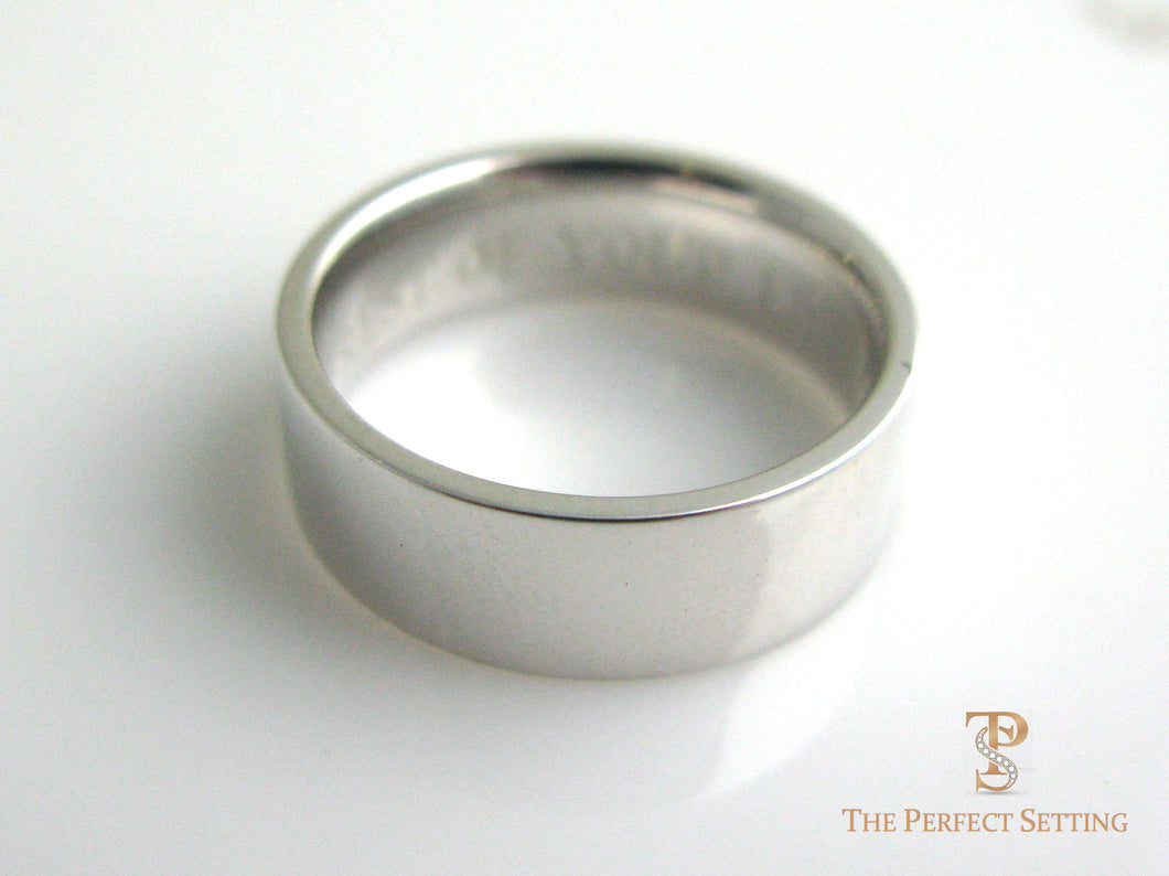 Men's Flat Wedding Band Platinum