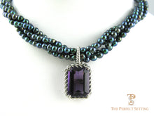 Load image into Gallery viewer, Amethyst Enhancer of black pearls