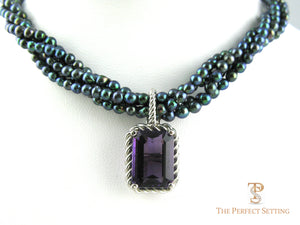 Amethyst Enhancer of black pearls