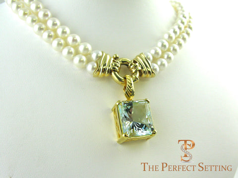 Custom Aquamarine Pendant 18K yellow gold