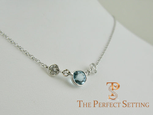 Aquamarine and Diamond Necklace Bezel Three Stone Birthstone