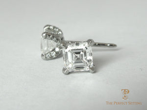 Diamond earrings Asscher cut