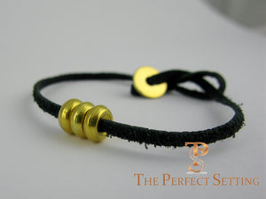 24K Gold Rondel on Leather Cord Bracelet