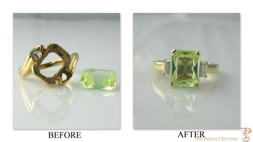 Resetting - Inherited Broken Peridot Ring becomes diamond cocktail ring