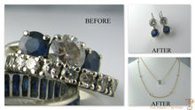 Load image into Gallery viewer, Reset unworn engagement ring before and after photo of necklace and earring