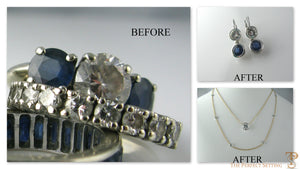 Reset unworn engagement ring before and after photo of necklace and earring