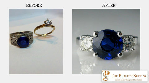 Resetting sapphire and diamond ring