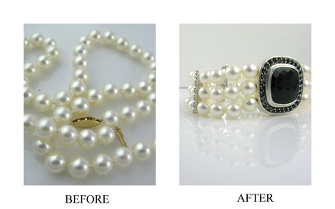 before and after resetting akoya pearls onyx topaz bracelet