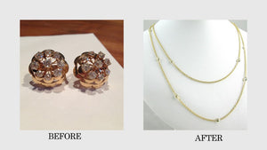 Before and After photos of old earrings to new necklace