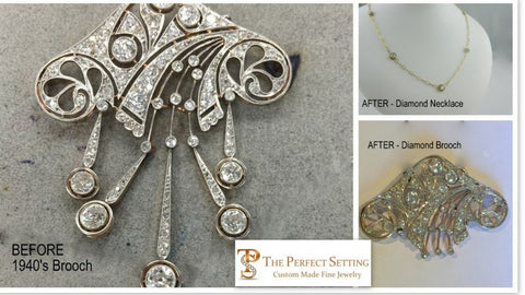 Before and After Photo of 1940's diamodn brooch