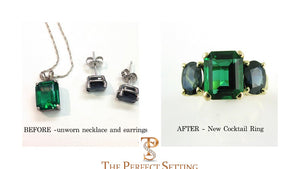 Before and After Photo of reset necklace and earrings to ring