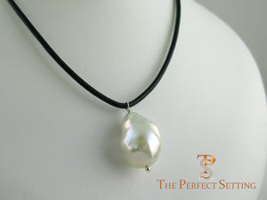 Baroque pearl leather cord necklace