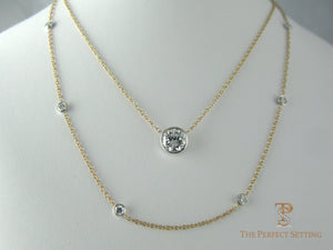 Bezel set diamond necklaces after resetting