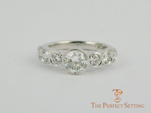 Bezel Set Diamond Wedding Band Seven Stones 7