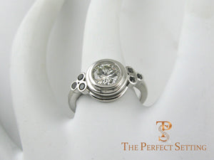 Bezel Diamond White Gold Ring - Setting