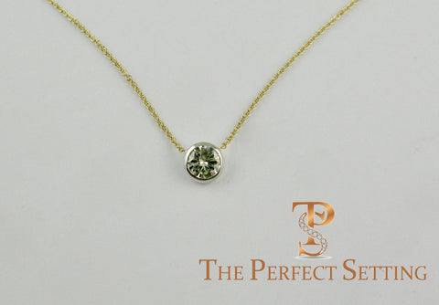 bezel set diamond 18K yellow gold chain necklace