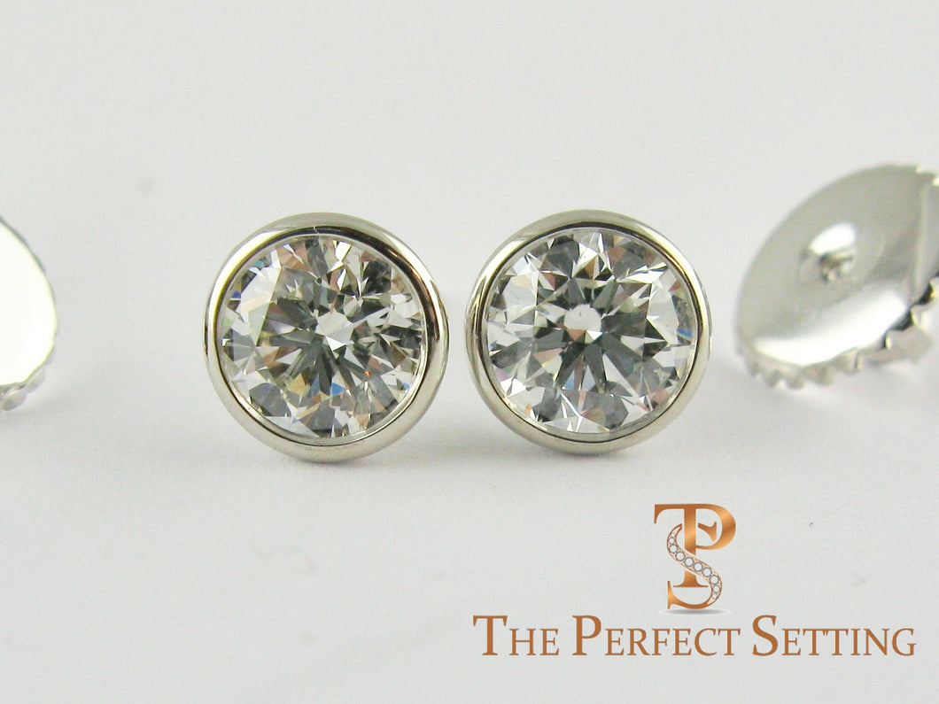 Bezel Set Diamond Studs Screw Back Earrings